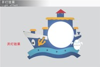 New ship cartoon wall lamp is suitable for children's room study The bedroom is made of wood + PVC m