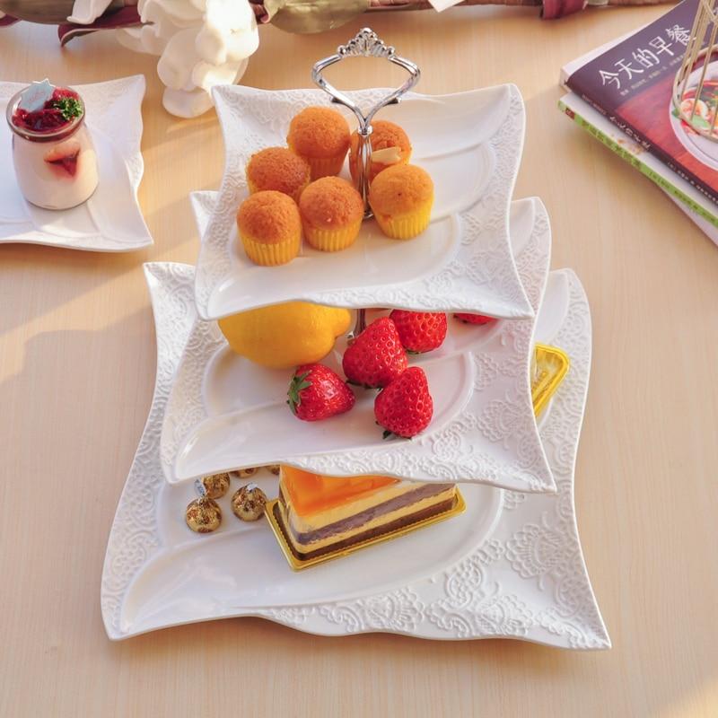 Bone china ceramic three tiers fruit plate decorative