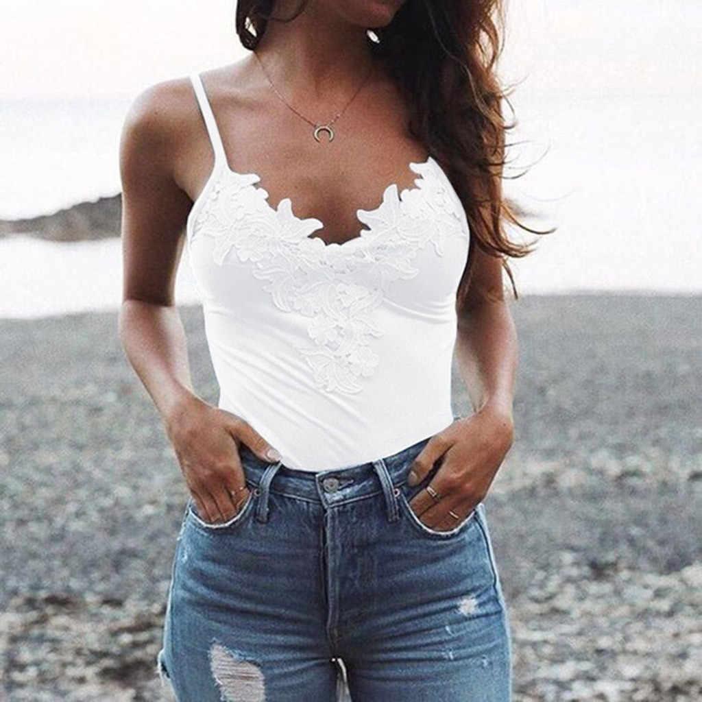 2019 Women's Fashion Sexy Sleeveless camisole Patchwork Tank Tops  Beach Wear Blouse Lace Vneck Sling Sexy Top Streetwear