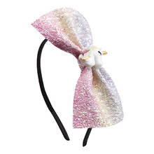 Unicorn Bow Baby Headbands For Girls Bling Handmade Colorful Children Hairban Cute Headwear Newborn Hair Accessiores