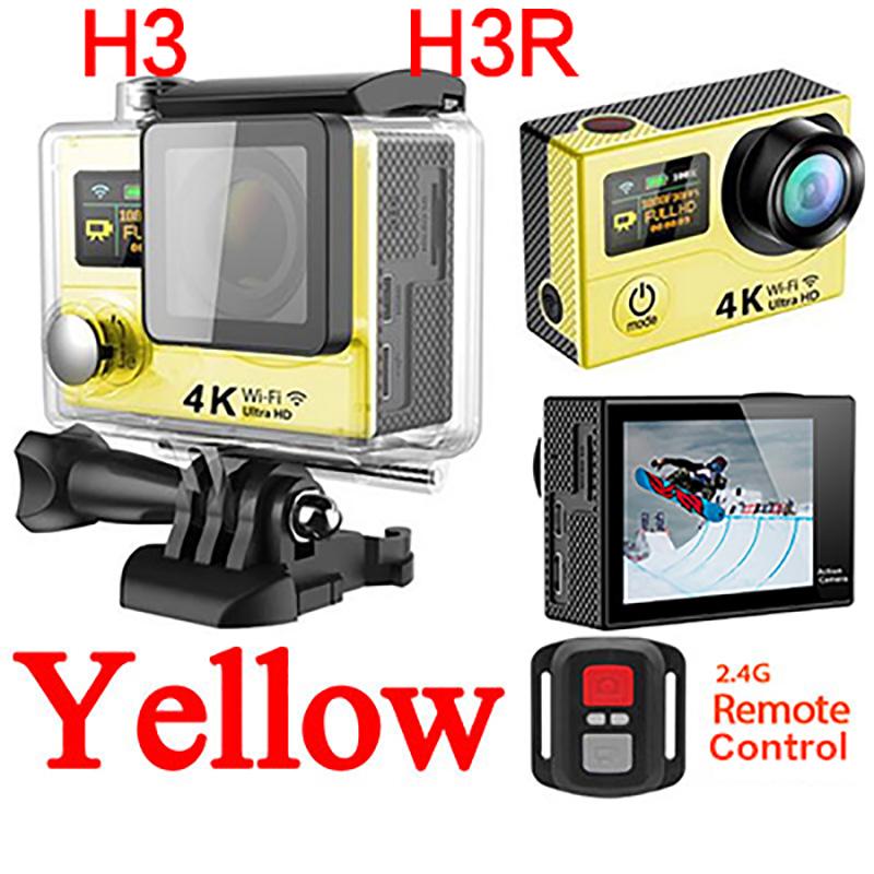 Prix pour 100% H3 H3R Ultra HD 4 K Sport Action Caméra télécommande WiFi 1080 p double écran sj 170 eken aller 4000 étanche pro hero yi 4 K