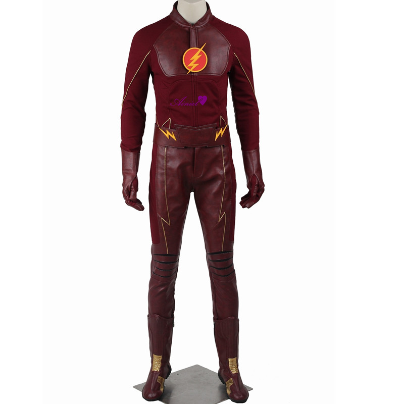 Ainiel The Flash Barry Allen Cosplay Costume Justice-League  Superhero The Flash Man Full Set Uniform Custom Made With Boots