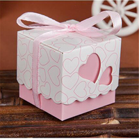 100pcs Pack 5 5 5cm European Square Hollow Love Heart Gift Boxes Romantic Mix Color Ribbon
