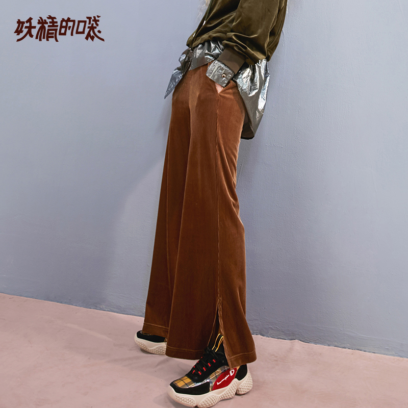 ELF SACK Autumn New Woman   Pants   Casual Knitted Elastic Waist Women Full Length Solid   Wide     Leg     Pants   Loose Femme Trousers Bottoms