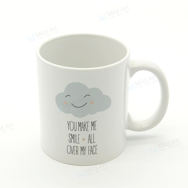 Nordic Style Kawaii Cute Cloud Smile Quotes Kitchen Ceramic Water