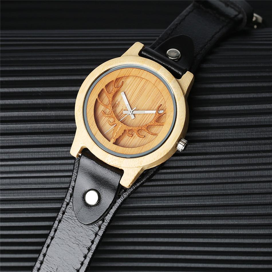 YISUYA Deer Wooden Watch Men's Bamboo Leather Wood Quartz Watches Gift relogio de madeira (2)