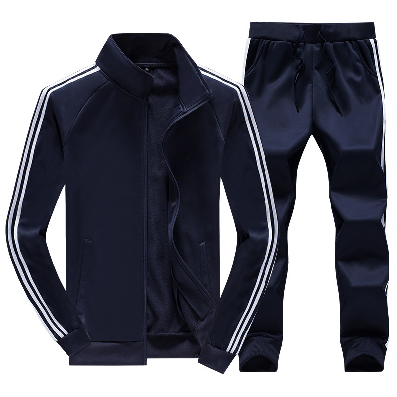 Rlyaeiz 2018 Autumn Tracksuit Mens Sportswear Sets Fleece Warm Striped Zipper Hoodies + Pants Sporting Wear Male Sporting Suit