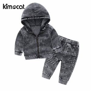 Image 2 - Kimocat New Arrival Autumn And Spring Long Sleeve Childrens Hooded Knit Denim Suit Boys Clothing Sets Toddler Tracksuit Sets