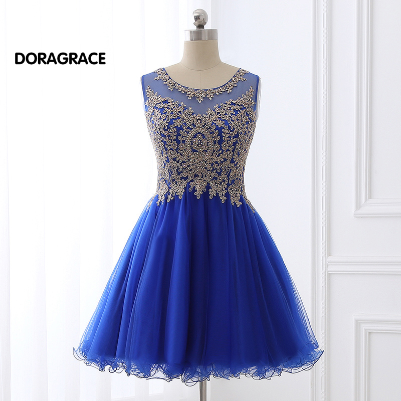 Real Photos Applique Beaded Designer Cocktail Dresses Short Girls Party Dress vestido de festa curto DGC013