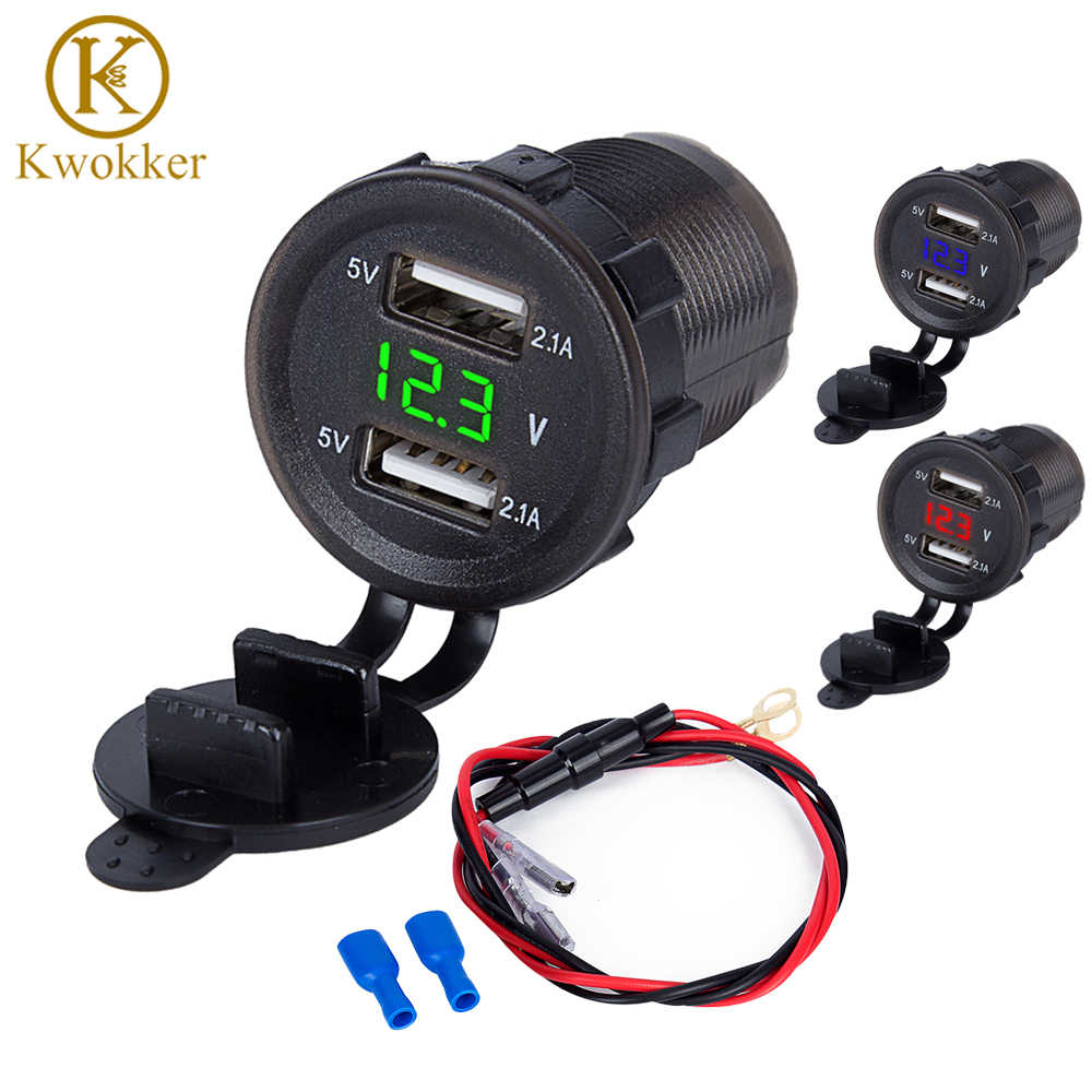 3.1A/4.2A Dual USB Motorcycle Cigarette Lighter Car Cigarette Lighter Charger Socket Charger+LED Digital Voltmeter Meter Monitor