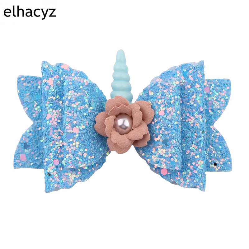 1PC Retail 2019 New Glitter Sequin Bow Shimmery Unicorn Hair Clips Pearls Floral Unicorn Hair Accessories For Kids Headwear in Hair Accessories from Mother Kids