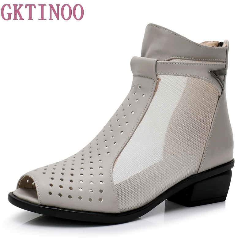 цена GKTINOO Genuine Leather New Summer Ankle Boots For Women Fashion Cut-Outs Mesh Zip Sandals Ladies Peep Toe High Heel Shoes Woman