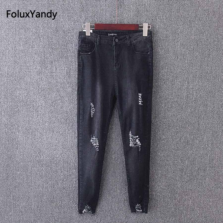 Skinny Pencil Pants Denim Trousers Women Plus Size Ripped Jeans 3 4 XL Black Blue KK3554 blue black ripped jeans women ankle length trousers plus size 3 4 xl casual slim skinny elastic denim pencil pants kkfy250