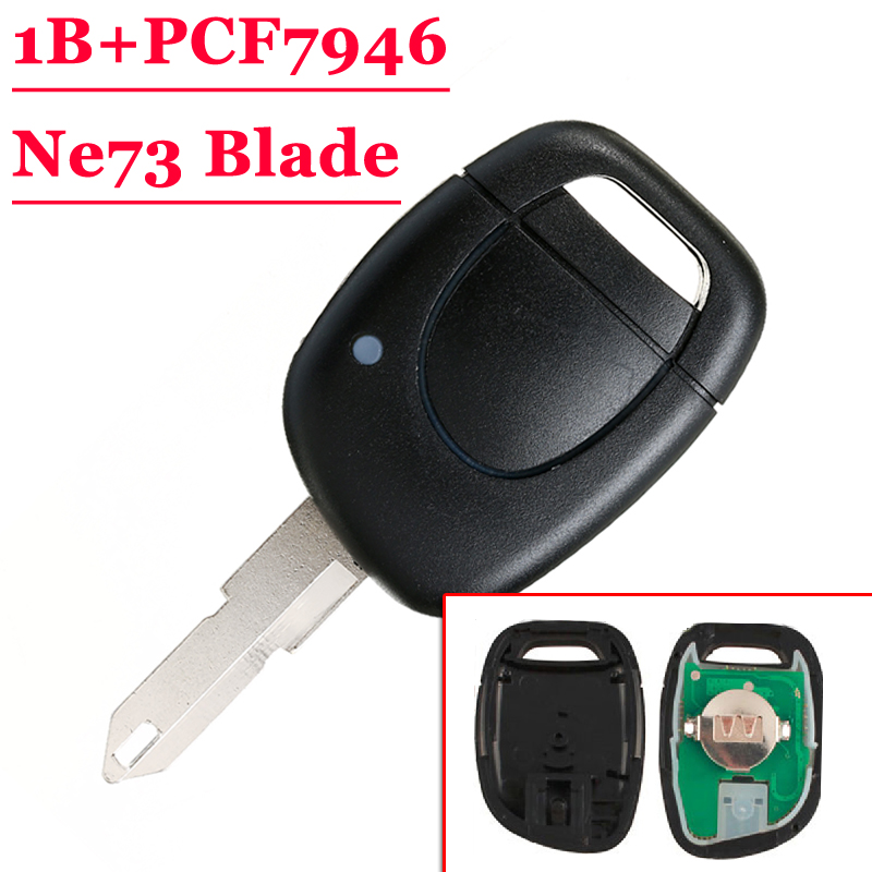 Անվճար առաքում (10 հատ / լոտ) 1 Button Remote Key Fob NE73 Blade With Pcf7946 For Renault Clio Kangoo Twingo