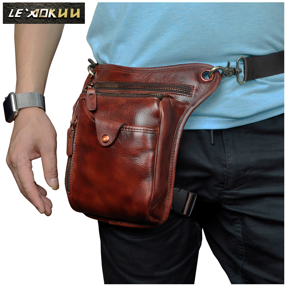 New Quality Leather Men Fashion Small Messenger Cross Body Bag Design Travel Belt Waist Pack Drop Leg Bag Phone Pouch 211-5w