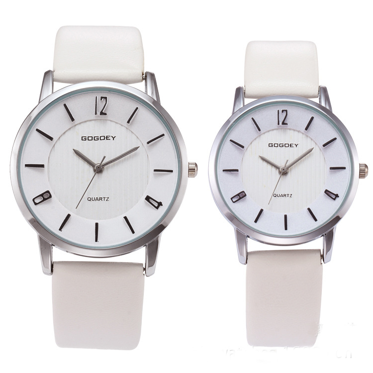 Luxury Gogoey Brand Pair Watches for Men Women Big& Small Dial Pu Leather Watches Men's Wristwatch Modern Clock go8527