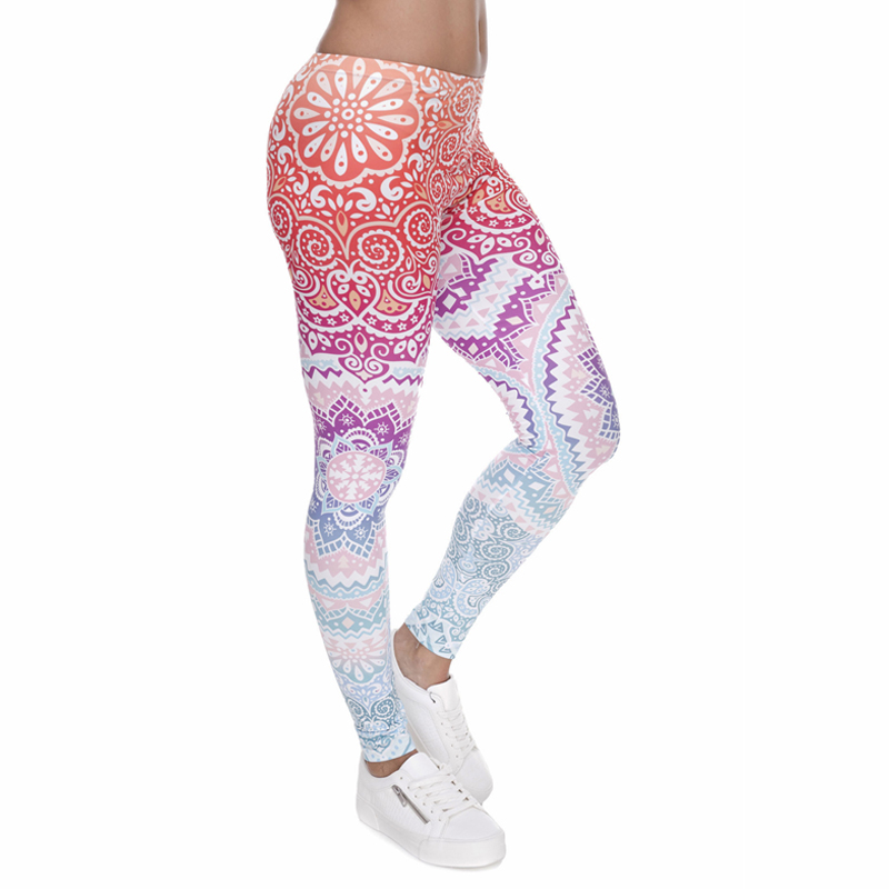 Pink Aztec Mandala Print Fashion Woman Leggings Lady Close fitting Fitness Pants Breathable Perspiration Quick dry Sport Pants-in Leggings from Women's Clothing
