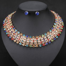 Statement Necklace, Women Vintage Choker Collar Gold Color Chain, Crystal Necklace Earrings Jewelry Sets