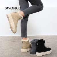 SWONCO Women's Platform Ankle Boot 2018 Winter Genuine Leather Fur Wool Snow Boots Winter Women Boots Platform Woman Warm Shoes