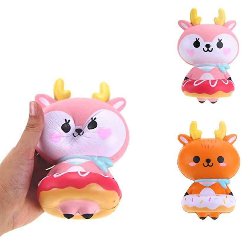 16cm Cute Deer Cream Squishy Charms Milk Bag Toy Slow Rising for Children Adults Relieves Stress Anxiety Cabinet Decor t312