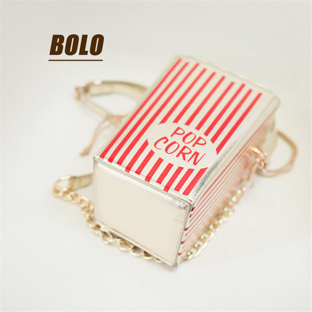 The new synchronous Japanese sweet popcorn bag diagonal packet chain personality