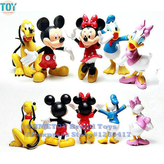 ohmetoy 5pcs mickey action figure toys daisy minnie mouse pluto dog