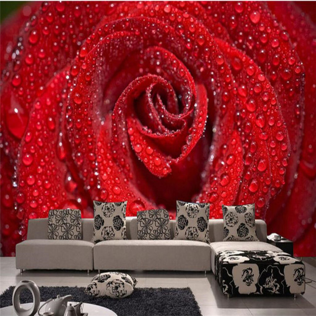 Wall Painting Custom Any Size Large Wallpaper For Living Room Dream Red Rose Water Drops Art