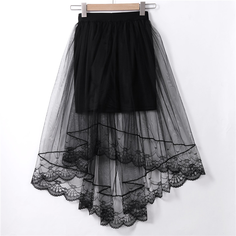 Women High Waist Elastic Waist Skirt Double Layer Long Maxi Beach Skirts Tulle Mesh Skirt Black White
