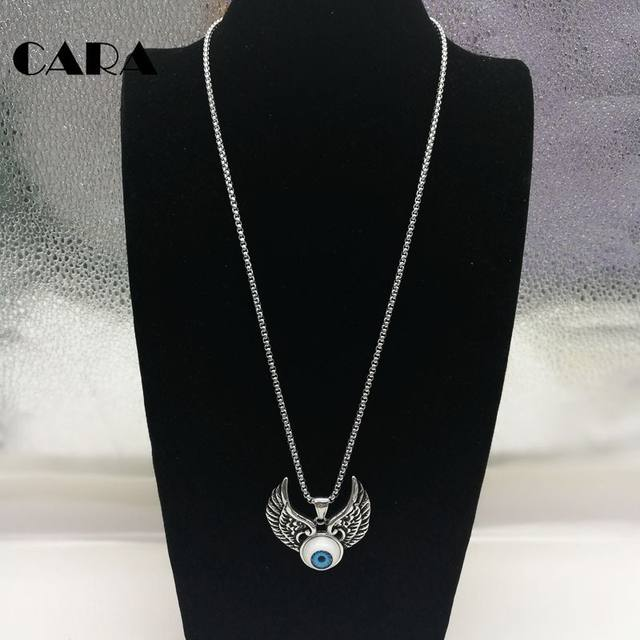 Online shop cara new 316l stainless steel vintage silver wings devil cara new 316l stainless steel vintage silver wings devil eyeball pendant necklace mens hip hop punk necklace jewelry cara0321 aloadofball Image collections