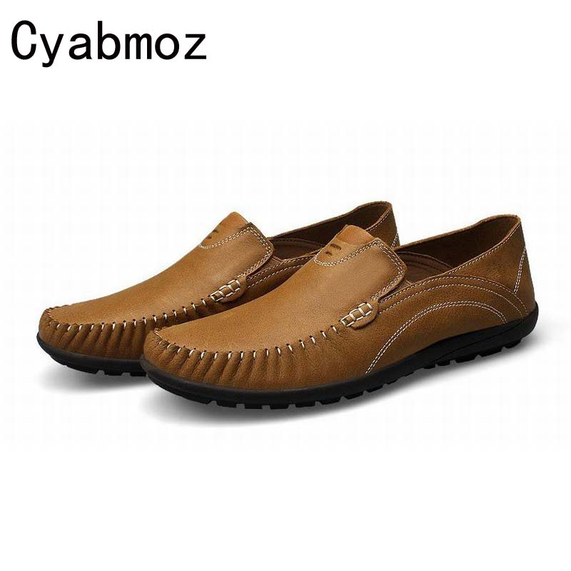 Men's Big Size 45 46 100% Genuine Leather Handmade Driving Shoes,New Moccasins Casual Shoes,Brand Fashion Flats Loafers For Men cyabmoz 2017 flats new arrival brand casual shoes men genuine leather loafers shoes comfortable handmade moccasins shoes oxfords