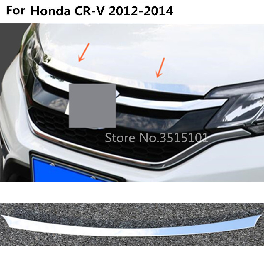 Car cover Bumper engine ABS Chrome trim Front Grid Grill Grille frame edge 1pcs For Honda CRV CR-V 2012 2013 2014 high quality for toyota highlander 2015 2016 car cover bumper engine abs chrome trims front grid grill grille frame edge 1pcs