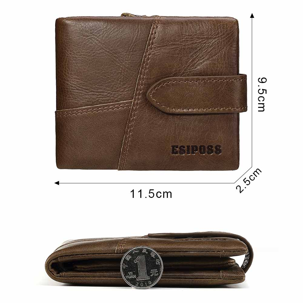 zipper curto carteira do vintage Material Principal : Couro Genuíno