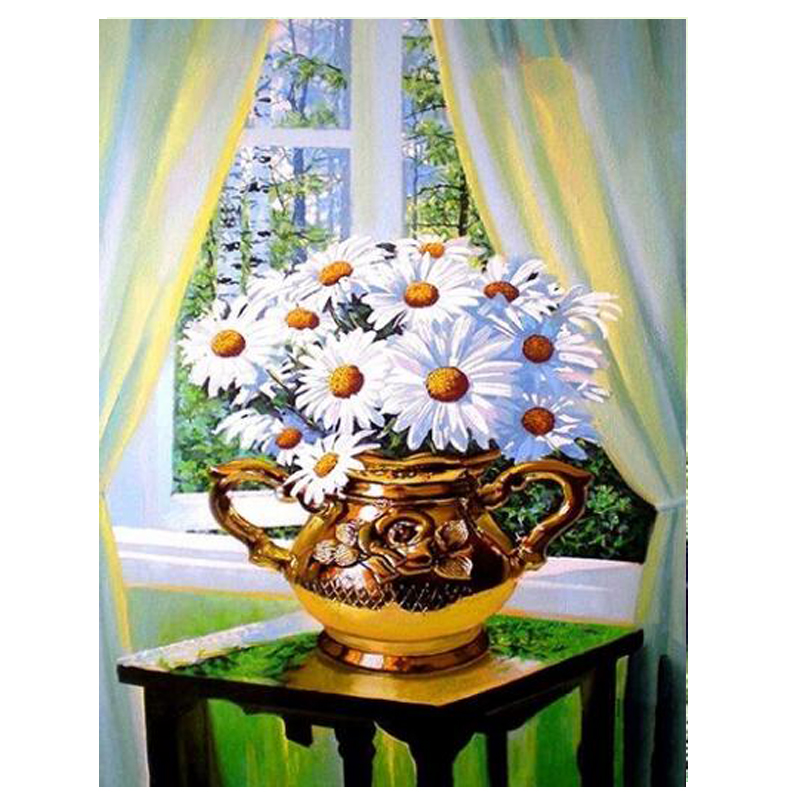 Honey 5d Diy Diamond Painting White Flowers Full Square&round Diamond Embroidery Lh2025 Cross Stich Diamond Painting