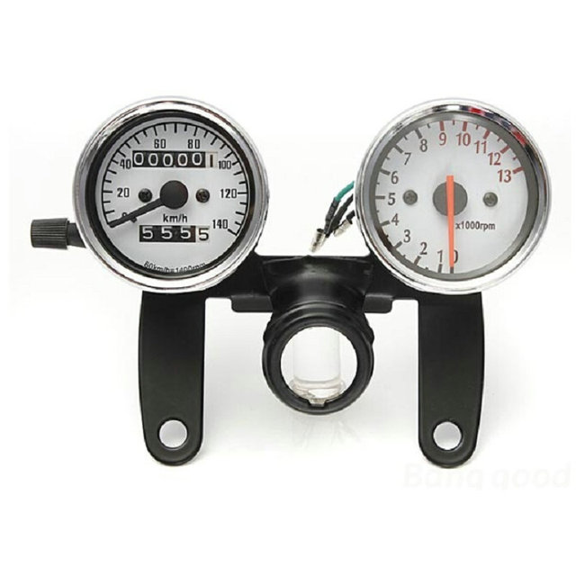 Universal Motorcycle Odometer Tachometer Speedometer Gauge with Black Bracket