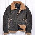 La Guerra de Vietnam EE.UU. jersey Ejército chaquetas de Solapa de lana de Cordero de cuero de Los Hombres de color Matorrales Piel de Vaca de Los Hombres Acolchada chaqueta de piel
