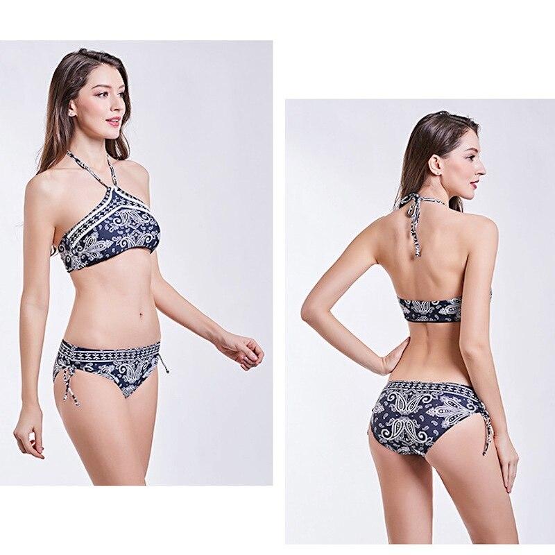 1826 Women Bikini Set Print Biquini Low Waist Bandage Ethnic Pattern Sexy Swimwear Brazilian Bikinis Set Hot Bathing Suit