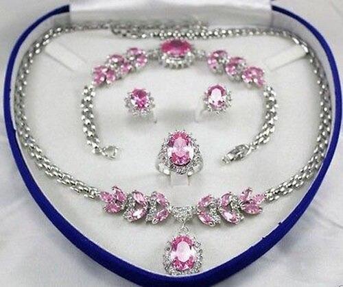 Vente chaude nouveau-De Mariée Ensemble de Bijoux pour Femmes Rose Cristal Collier Boucle D'oreille Bracelet Anneau + (boîte) NOUVEAU