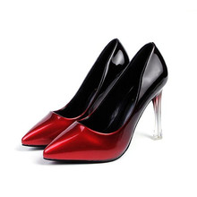 Free shipping spring new arrival women's pointed toe shallow mouth gradient color high heel shoes
