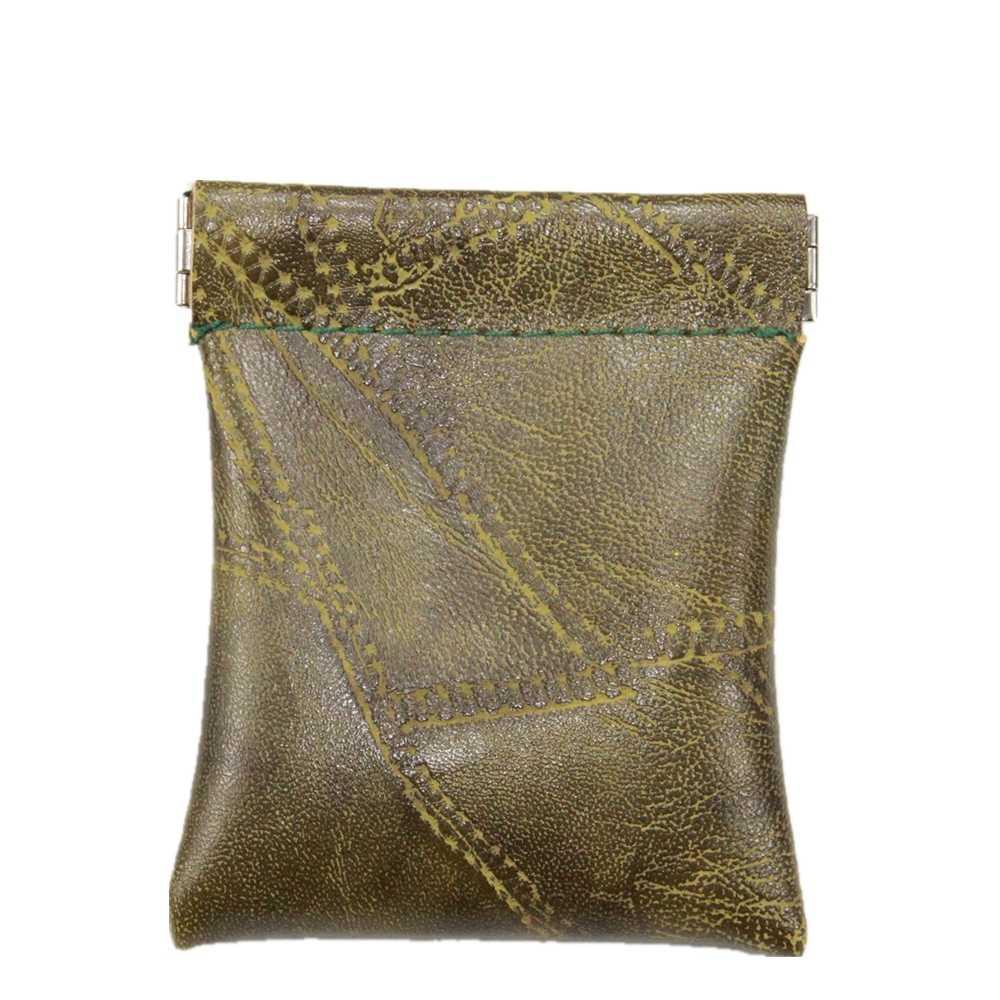 Imitación de piel de oveja de Patchwork Pu monedero de cuero los hombres de las mujeres, cuero pequeña bolsa de cambio de dinero clave titular de la tarjeta de fiesta regalo