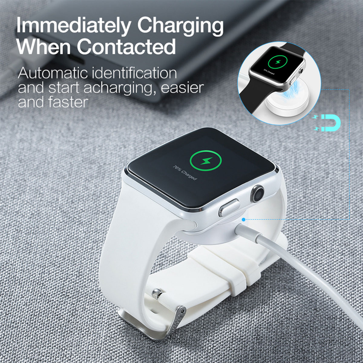 Wireless Charger USB Cable Magnetic Smart Watch Charger Round / Square / Octagon Shape For Apple Watch/iWatch Series 1 2 3