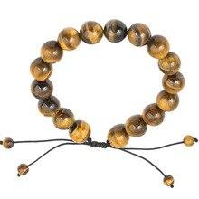 Yoga chakra 12mm naturales cuentas de piedras de ojo de tigre de piedra pulsera para hombre ajustable pulseras espíritu de buda yoga curativo joyería