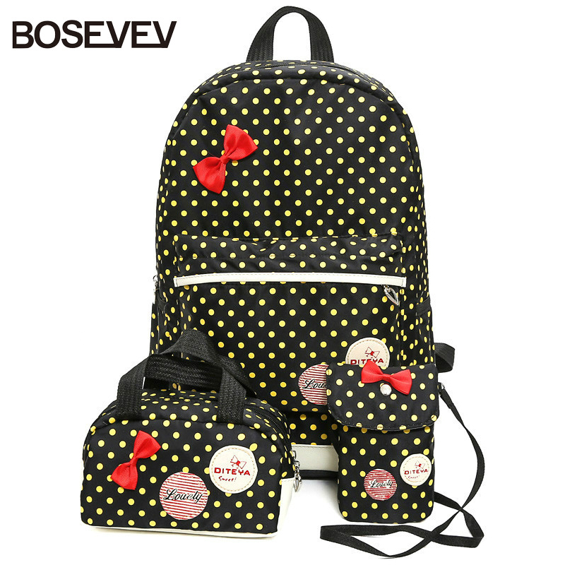 BOSEVEV 3 Pcs/Set School Bags for Girls Nylon Teenagers Schoolbag Dot Printing Primary Children Backpacks Cute Rucksack Bags