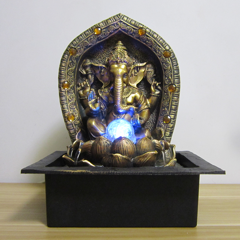 40cm God Ganesha Lucky Water Fountain Ornaments Fengshui Craft Tabletop Indoor Air Humidifier Home Decoration