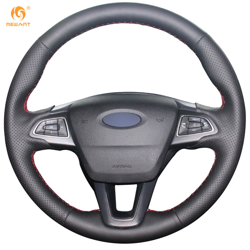 MEWANT Black Genuine Leather Car Steering Wheel Cover for Ford Focus 3 2015-2018 Kuga 2016-2018 Escape 2017 2018 C-MAX 2015-2018 car rear trunk security shield shade cargo cover for ford kuga escape 2013 2014 2015 2016 black beige