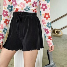 2019 Women Summer Beach Casual Pleated Short Pants Drawstring Fashion High Waist Solid Color Shorts Female Wide Leg Shorts black pleated design drawstring waist shorts