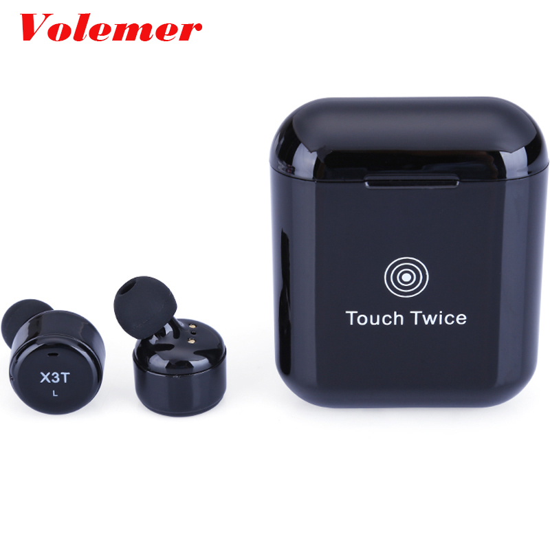 Volemer X3T Touch Button Bluetooth Earphones Wireless With Microphone Mini Headsets Sport Charging Room for iPhone PK X2T X1T top mini sport bluetooth earphone for asus zenfone 3 ze552kl earbuds headsets with microphone wireless earphones