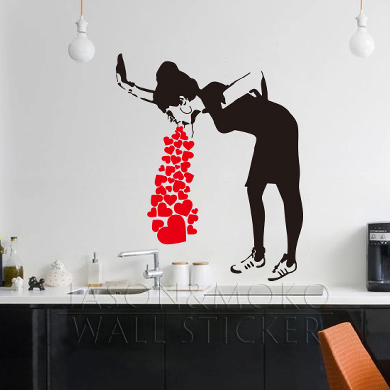 Great Banksy Style Lovesick Girl Woman Heart Love Cough Vinyl Wall Decal Sticker  Mural Wallpaper Living Room Home Decor Art 80x95cm