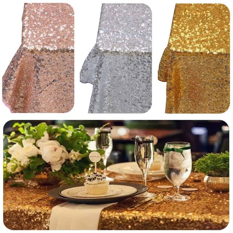 1 2m Sequin Tablecloth Round Wedding Table Cloth Gold