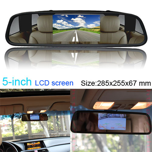 "2in1 Multi 5\"" <font><b>LCD</b></font> Screen Car Rear View Backup Parking Mirror TV/GPS/DVD Monitor"