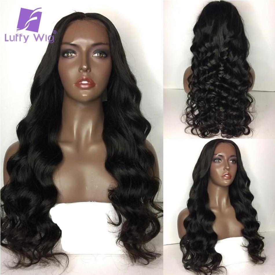LUFFY Pre Pukan 250 Gostota svilene podlage Čipke Sprednje lasulje - Človeški lasje (za črne) - Fotografija 2